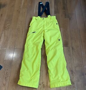 Youth Spyder Thinsulate Bib Snow Pants Neon Yellow - Lengthening System- Sz 16