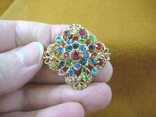floral gold tone brooch pin (bb601-58) rainbow rhinestone crystal ornate flower