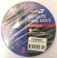 NORTON METALITE FIBRE DISCS FOR METAL P120  (PACKS OF 5) 100 MM X 16 MM