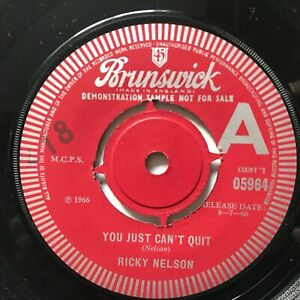 "UK DEMO RICKY NELSON "" YOU JUST CAN'T QUIT / LOUISIANA MAN "" Brunswick Records"