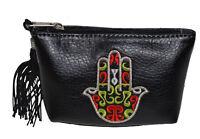 Moroccan Faux Leather Handbag Pouch Purse Women Hamsa  Make Up Bag Wallet Black