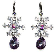 Kirks Folly Snowflake Desire Leverback Earrings silvertone