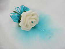 Buttonhole  Wedding Flower  Corsage Ivory & Turquoise Pin On