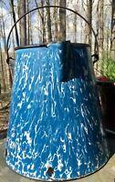 Vintage Large  Graniteware Blue Enamelware Coffee Pot Cowboy NO LID