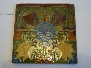 "SUPERB ANTIQUE MINTON SUCCESIONIST ART NOUVEAU TILE 6 x 6"" Ref#4"