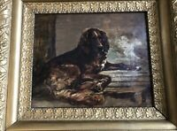 "19th Century Dog Oil Painting Charming Setter ""Waiting For Master"""