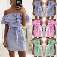 US Women Holiday Off Shoulder Bardot Mini Dress Summer Frill Tops Plus Size S-XL