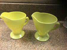 HAZEL ATLAS Neon Lemon-Lime Paint/Glaze Milk Glass Pedestal Creamer SyrupPitcher