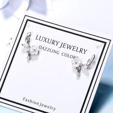 Ladies Elegant Solid 925 Sterling Silver Cut Zircon Shell Flower Stud Earrings