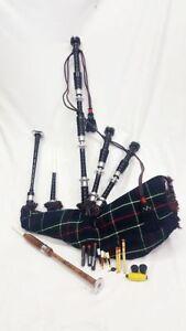 HW Great Scottish Highland Bagpipes Black Finish Silver Mounts Mackenzie Tartan