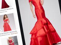 jovani red bardot prom dress