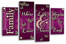 Large Family quote canvas wall picture Purple Plum Cream multi 4 panel wall art