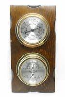 Vintage TAYLOR USA Weather Station Barometer Temp Humidity On Wood Base
