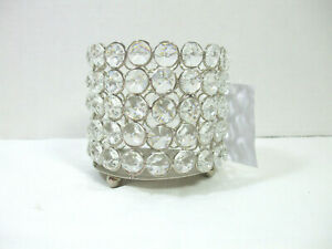 "Round Pillar Candle Holder Silver Metal Set with 48 Crystals 4"" tall 4"" wide"