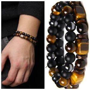 2pcs/set Men Energy Elastic Rope Beaded Bracelet Natural Stone Tiger Eye