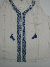 Lucky Brand Embroidered Tassel Top Womens 2X White Blue V-Neck New With Tags