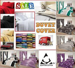 100% Egyptian Cotton Duvet Quilt Cover & Pillowcase Bedding 200 THREAD COUNT
