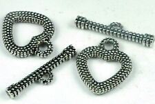 2 Pair Heart silver Pewter Toggle Clasps ~ Lead-Free