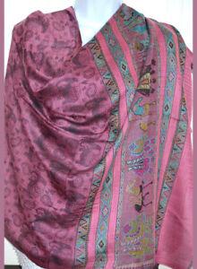 Pashmina Silk Blend Shawl, Stole,Wrap Elephant Design Fuchsia Pink Color India