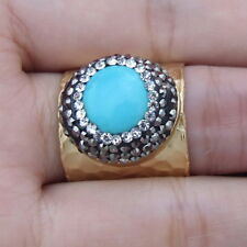 18MM Blue coin turquoise trimmed with macrsite cuff ring