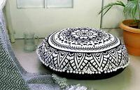 "32"" Round Black & White Mandala Room Decorative Floor Pillow Yoga Cushion Cover"