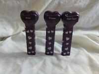 PEZ Lot 3~ Valentine's Day Heart Purple ~ Sweet, Princess, Sugar Sugar