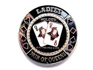 """Pokerguard Poker Card Guard """"LADIES PAIR OF QUEENS"""" silber Pokerzubehör"""