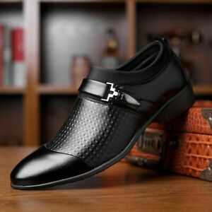 Men's leather shoes, push-on flat shoes, pu formal wedding shoes  2021