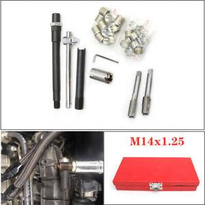 M14x1.25 Car Screw Inserts Spark Plug Thread Repair Tap Wrench Tool Kit w/Box