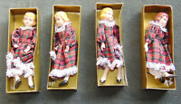 "LOT of 4 Dolls Vintage China Head Hands Legs Cloth Body 8"" Doll Made Taiwan SAME"