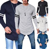 Mens Casual Long Sleeve Slim Fit Shirts Longline Top Blouse T-Shirt Muscle Tee