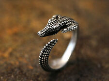 Crocodile Animal Ring Adjustable Silver Alligator Finger Wrap AR-21