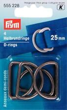 PRYM 4 semicircolare anelli SEMI ANELLI STEG larghezza 25 mm alt argento metà D RING 555228