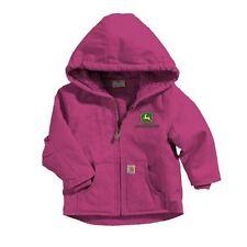 John Deere Carhartt Toddler Girls Washed-Duck Cotton Raspberry Canvas Jacket