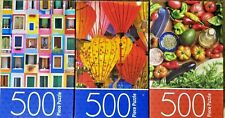 "3 puzzles 500pc All Pre-Owned Windows, Lanterns, Vegetables 11""x14"" By Cardinal"