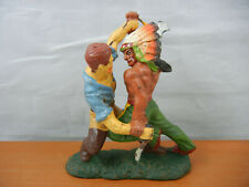 Vintage Elastolin Cowboy & Indian~ Fighting ~ with Knife & Hatchet / Germany