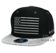 Bandera estadounidense Sombrero Gorra De Béisbol Gorro de malla de aire  frío Flat Bill-Negro Gris f1a3b8707ec