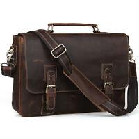 "Men Vintage Leather Messenger Bag Satchel School 15"" Laptop Briefcase Cross Body"