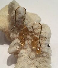 14k solid yellow gold Wire Wrapped Triple Citrine  briolette earrings
