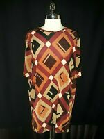 DELTA BURKE Plus Size 1X Shirt Top Red Brown Geometric Shimmery Short Sleeve