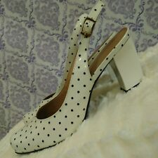 Capelli Rossi Polka Dot Patent Slingback Curved Heel Shoes Sz 38 US 7.5 White