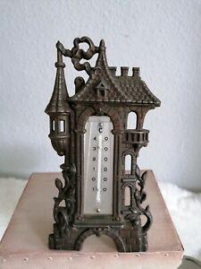 altes, antikes Tisch Thermometer Eisenguss Messing Bronze Jugendstil