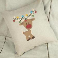 Cute Reindeer - Christmas Linen Cushion Cover Home Decor Gift - Xmas Decoration