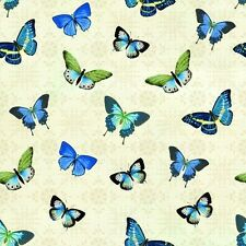 Fabric Butterflies Blue Tossed on Cotton 1/4 yard BIN