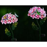 Solar Powered Metal Flower White LED Stake Light Garden Outdoor Lawn Lamp UK
