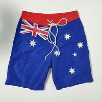 Australia Mens M W32 Blue Red Aussie Flag Swim Trunks Surf Board Shorts Boardies