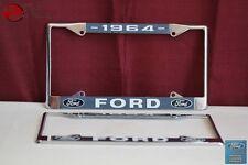 1964 Ford Car Pick Up Truck Front Rear License Plate Holder Chrome Frames New