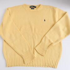 Vintage Polo Ralph Lauren Sweater Crew Neck Yellow Blue Cotton Medium Small 90s
