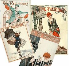 Set of FOUR 1920's French Magazine La Vie Parisienne Fabric Blocks