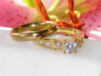 RG130 1.75ct WOMENS ELEGANT  SOLITAIRE SIMULATED DIAMOND RING WEDDING BAND SET